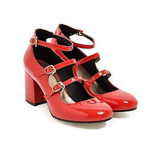 זול נעלי עקב לנשים-בגדי ריקוד נשים עקבים עקב עבה בוהן עגולה PU אביב קיץ שחור / אדום / ורוד / יומי