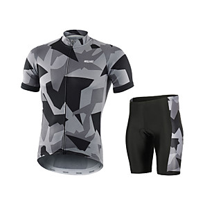 cheap Cycling Jersey & Shorts / Pants Sets-Arsuxeo Camo / Camouflage Men's Short Sleeve Cycling Jersey with Shorts - Grey White Red Bike Clothing Suit Breathable Quick Dry Anatomic Design Sports Polyester Spandex Mountain Bike MTB Road Bike
