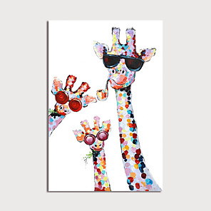 cheap Animal Paintings-Oil Painting Hand Painted Animals Modern Stretched Canvas With Stretched Frame