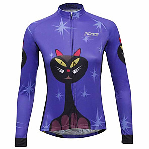 cheap Cycling Jerseys-21Grams Cat Animal Women's Long Sleeve Cycling Jersey - Black / Blue Bike Jersey Top Thermal / Warm UV Resistant Breathable Sports Winter Fleece 100% Polyester Mountain Bike MTB Road Bike Cycling