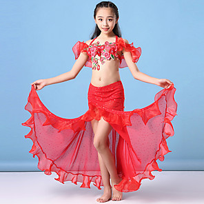 cheap Latin Dancewear-Belly Dance Kids' Dancewear Skirts Bow(s) Split Embroidery Girls' Training Performance Short Sleeve Natural Mesh Chiffon