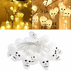 cheap LED String Lights-3D Halloween Skeleton Lights Lanterns 3m 9.84ft 20 LED Skull Lights Halloween String Lights Battery Powered Decor Indoor Outdoor Party Yard White