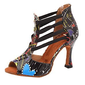 cheap Latin Shoes-Women's Dance Shoes PU Latin Shoes Heel Flared Heel Customizable Black / White