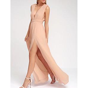 cheap Bridesmaid Dresses-A-Line Plunging Neck Floor Length Chiffon Bridesmaid Dress with Split Front / Pleats