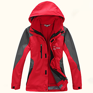 cheap Softshell, Fleece & Hiking Jackets-Women's Hiking Jacket Winter Outdoor Patchwork Waterproof Windproof Warm Comfortable Top Camping / Hiking / Caving Traveling Winter Sports Fuchsia / Yellow / Green / Red / Blue