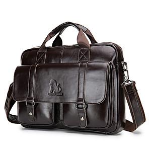 cheap Men's Bags-Men's Zipper Cowhide Top Handle Bag Solid Color Black / Coffee