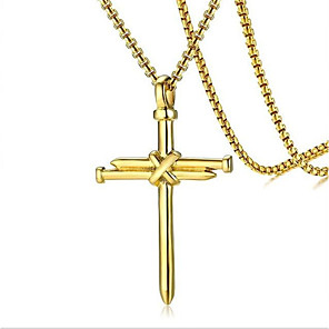 cheap Pendant Necklaces-Men's Pendant Necklace Geometrical Cross Fashion Titanium Steel Black Gold Silver 60 cm Necklace Jewelry 1pc For Daily Holiday