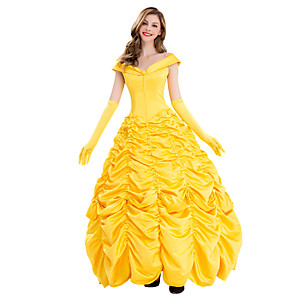 cheap Movie & TV Theme Costumes-Belle Outfits Masquerade Women's Movie Cosplay Cosplay Halloween Yellow Dress Gloves Halloween Carnival Masquerade Polyster