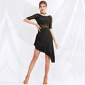 cheap Latin Dancewear-Latin Dance Dress Ruching Women's Performance Half Sleeve Mesh Spandex