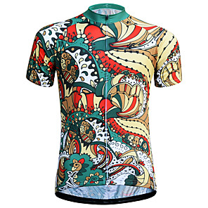 cheap Cycling Jerseys-JESOCYCLING Floral Botanical Men's Short Sleeve Cycling Jersey - Green Bike Jersey Breathable Quick Dry Anatomic Design Sports 100% Polyester Mountain Bike MTB Road Bike Cycling Clothing Apparel