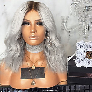 cheap Synthetic Lace Wigs-Synthetic Wig Deep Wave Middle Part Wig Long Grey Synthetic Hair 16 inch Women's Women Gray