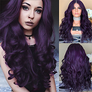 cheap Synthetic Lace Wigs-Synthetic Wig Body Wave Middle Part Wig Long Black Red Dark Purple Synthetic Hair 26 inch Women's Women Purple