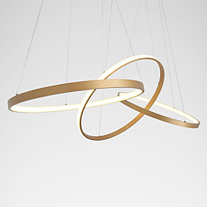 cheap Indoor Wall Lights-1-Light LED Modern Chandelier Ring Gold Pendant Lamp for Living Office Dinning Room Aluminum Creative Warm White White Dimmable With Remote Control WIFI Smart works for Google Home