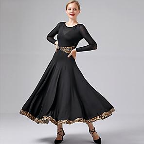 cheap Ballroom Dancewear-Ballroom Dance Dress Ruching Split Joint Women's Performance Long Sleeve Modal