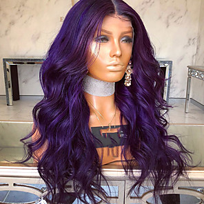 cheap Synthetic Lace Wigs-Synthetic Lace Front Wig Wavy Matte Kardashian Middle Part Lace Front Wig Long Dark Purple Synthetic Hair 22-26 inch Women's Heat Resistant Women Middle Part Purple / Glueless