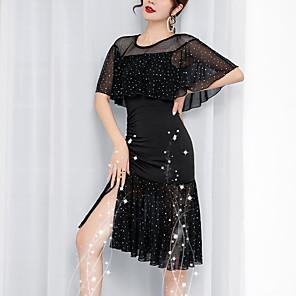 cheap Latin Dancewear-Latin Dance Leotard / Onesie Glitter Women's Training Performance Half Sleeve Dropped Elastane