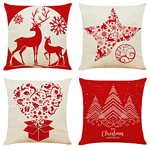 cheap Pillow Covers-Set of 4 Christmas Tree Linen Square Decorative Throw Pillow Cases Sofa Cushion Covers 18x18