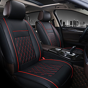 cheap Exhaust Systems-PU Leather Breathable Non-slip Car Seat Covers Cushion Accessories Single seat cover without headrest and lumbarrest for Universal