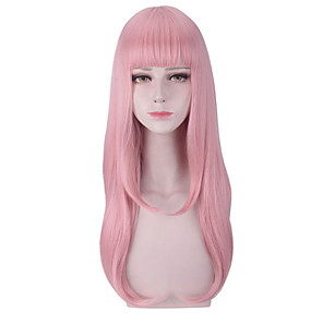 cheap Costume Wigs-Synthetic Wig Cosplay Wig Straight Natural Wave With Bangs Wig Pink Long Pink Synthetic Hair 26 inch Women's Cosplay Creative Heat Resistant Pink
