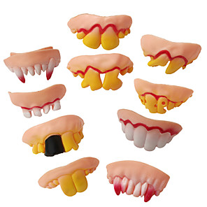 cheap Halloween Party Supplies-10pcs Fake Teeth Toy Funny Teeth for Vampire Zombie Halloween Dentures Cosplay Props Costume Party Decoration Novelty Gags Toy