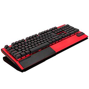 abordables Teclados-teclado mecánico juegos de metal esmerilado teclado con cable usb rgb retroiluminado con reposamuñecas jugador iluminado multicolor