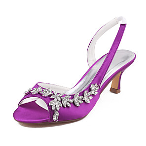 cheap Wedding Shoes-Women's Wedding Shoes Glitter Crystal Sequined Jeweled Spool Heel Open Toe Rhinestone Satin Summer Purple / Dark Purple / Royal Blue / Party & Evening