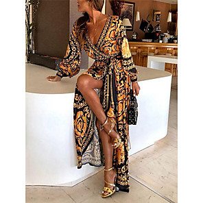 cheap Women's Boots-Women's Wrap Dress Maxi long Dress - Long Sleeve Print Belted Spring & Summer Deep V Boho Holiday Going out Beach 2020 Yellow S M L XL XXL XXXL