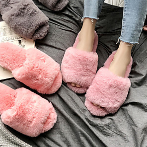 cheap Mosquito Nets-Women's Slippers / Girls' Slippers Slide Slippers / Guest Slippers / House Slippers Casual Faux Fur solid color Shoes