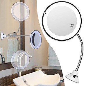 cheap Facial Care Devices-Flexible Gooseneck LED Makeup Mirror 10X Magnifying Makeup with LED Light Suction Cup Wall Mounted Cosmetic Mirror