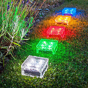 cheap Pathway Lights-2pcs 1 W Tempered Glass Tile Light / Lawn Lights Garden Light Outdoor Lighting Waterproof / Solar Warm White / White / Red 1.2 V 1 LED Beads