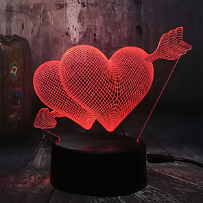 cheap 3D Night Lights-Romantic Love 3D Arrow Through the Heart LED Night Light Desk Lamp Wedding Bedroom Decoration Lovers and Couple and love Best Gift