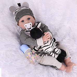 cheap Reborn Doll-NPK DOLL 22 inch Reborn Doll Reborn Toddler Doll Baby Boy Baby Girl lifelike Safety Gift Full Body Silicone with Clothes and Accessories for Girls' Birthday and Festival Gifts / Kids