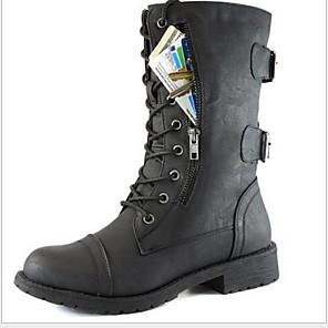 cheap Women's Boots-Women's Boots Flat Heel Round Toe PU Mid-Calf Boots Fall & Winter Black