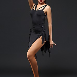 cheap Latin Dancewear-Latin Dance Dress Tassel Women's Performance Polyester