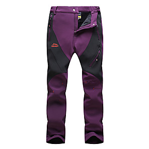 cheap Hiking Trousers & Shorts-Women's Hiking Pants Softshell Pants Patchwork Winter Outdoor Waterproof Windproof Breathable Warm Pants / Trousers Bottoms Violet Black Fuchsia Hunting Fishing Climbing L XL XXL XXXL 4XL -