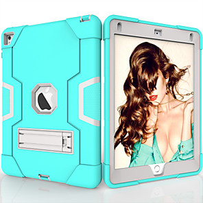 cheap iPad case-Case For Apple iPad Air / iPad 4/3/2 / iPad (2018) Shockproof / with Stand Back Cover Solid Colored TPU / PC