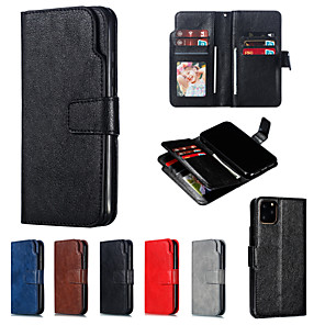 cheap iPhone Cases-Case For Apple iPhone 11 / iPhone 11 Pro / iPhone 11 Pro Max Wallet / Card Holder / Flip Full Body Cases Solid Colored PU Leather / PC