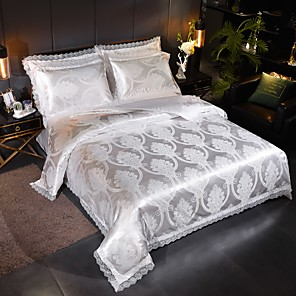 cheap Solid Duvet Covers-Duvet Cover Sets Stripes / Ripples Polyester / Viscose Jacquard 4 PieceBedding Sets