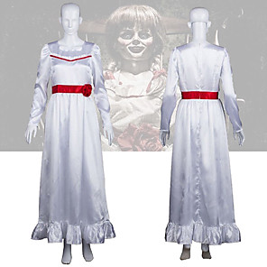 cheap Movie & TV Theme Costumes-Annabelle Dress Cosplay Costume Masquerade Women's Movie Cosplay Horror Halloween White Dress Halloween Carnival Masquerade Polyster