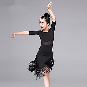 cheap Latin Dancewear-Latin Dance Dress Tassel Girls' Training Performance Half Sleeve Elastane Tulle
