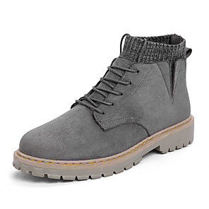 cheap Men's Boots-Men's Suede Shoes Suede Fall Boots Brown / Black / Gray / Outdoor / Combat Boots