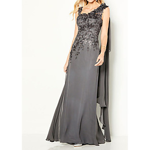 cheap Wedding Decorations-Sheath / Column Elegant Formal Evening Dress Y Neck Sleeveless Floor Length Chiffon Lace with Appliques 2020