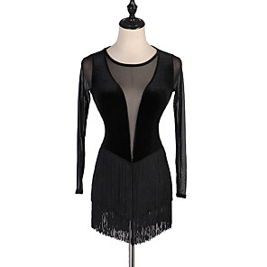 cheap Ice Skating Dresses , Pants & Jackets-Figure Skating Dress Women's Girls' Ice Skating Dress Black Patchwork Spandex High Elasticity Competition Skating Wear Classic Long Sleeve Figure Skating