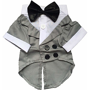 cheap Dog Clothes-Dog Costume Dress Tuxedo Solid Colored Cosplay Wedding Party Winter Dog Clothes Black Costume Baby Small Dog Cotton XS S M L XL