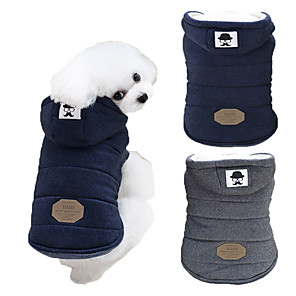 cheap Dog Clothes-Dog Coat Hoodie Solid Colored Keep Warm Windproof Fashion Outdoor Winter Dog Clothes Blue Gray Costume Cotton S M L XL XXL