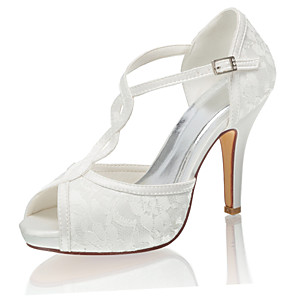 cheap Wedding Shoes-Women's Wedding Shoes Mesh Stiletto Heel Peep Toe Buckle Satin Spring &  Fall / Summer Ivory