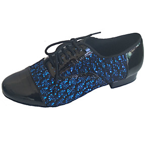 cheap Home Security System-Men's Modern Shoes / Ballroom Shoes PU Lace-up Heel Thick Heel Dance Shoes Black / Blue