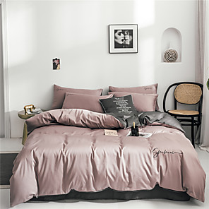 cheap Solid Duvet Covers-Duvet Cover Sets Solid Colored Cotton Embroidery 4 PieceBedding Sets