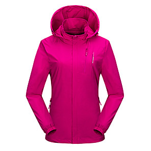 cheap Softshell, Fleece & Hiking Jackets-Wolfcavalry® Women's Hiking Jacket Hiking Windbreaker Winter Outdoor Waterproof Windproof Breathable Warm Jacket Top Camping / Hiking Hunting Fishing Violet / Red / Fuchsia