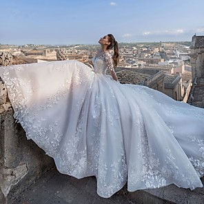 cheap Wedding Party Dresses-Ball Gown Wedding Dresses V Neck Chapel Train Lace Tulle Lace Over Satin Long Sleeve Glamorous Sparkle & Shine Illusion Sleeve with Appliques 2020 / Bell Sleeve